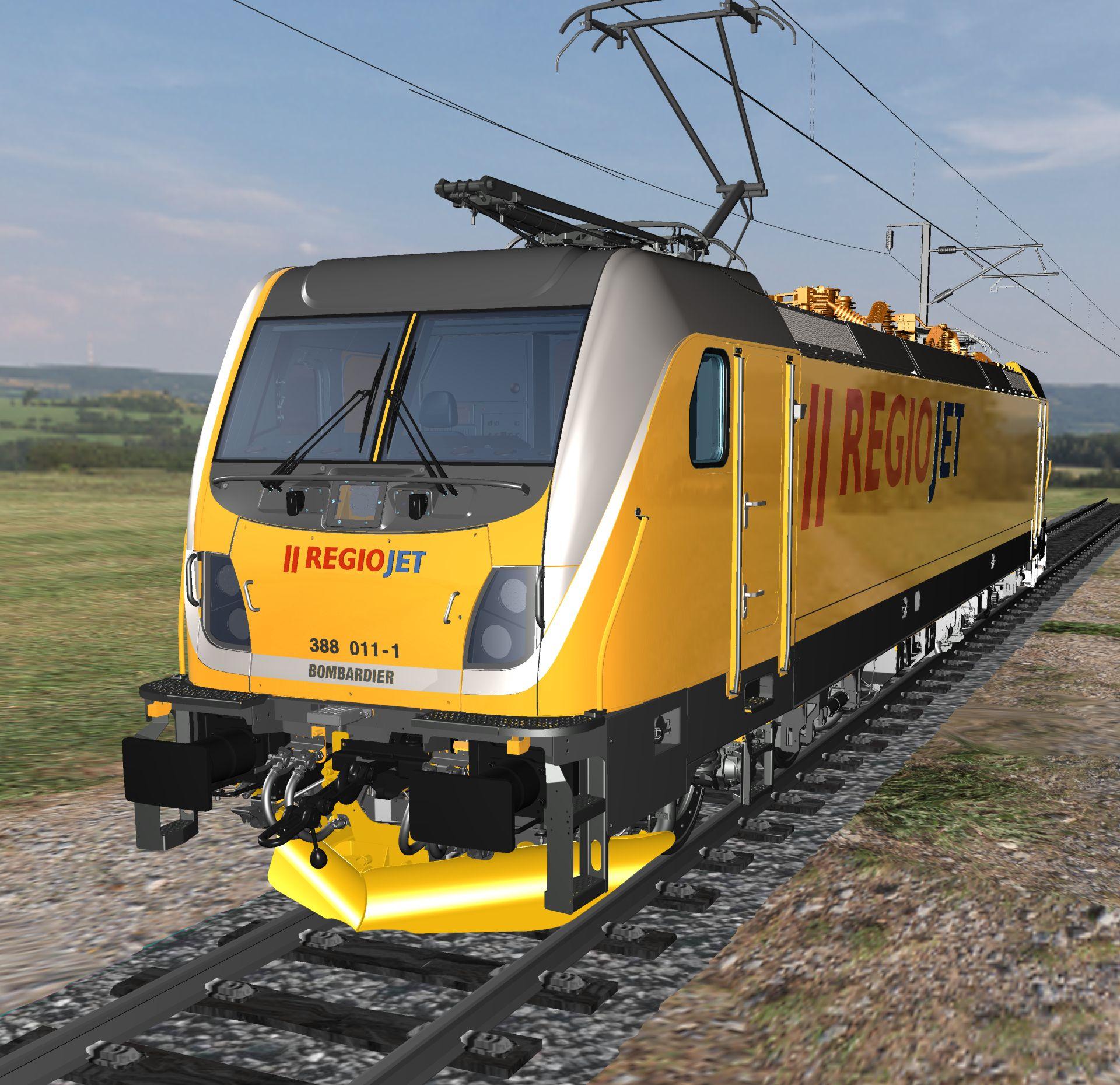 Vizualizace lokomotivy Bombardier TRAXX MS3 v barvách RegioJet. Foto: Bombardier