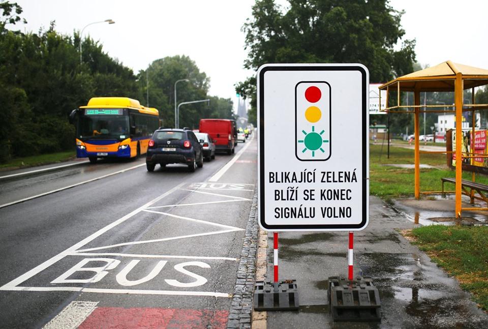 Břeclav, upozornění na blikající semafor. Pramen: FB - Město Břeclav.