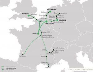 Mapa sítě rychlovlaku Eurostar / Thalys