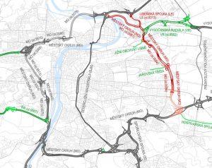 Pražský okruh, červeně nedostavěná část. Foto: Satra