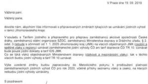Informace z Českých drah o zásadních změnách platnosti tarifu v Jihomoravském kraji.