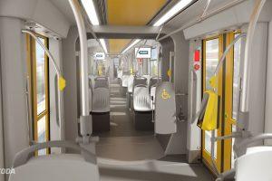 Interiér tramvaje ForCity Smart pro Plzeň. Foto: Škoda Transportation