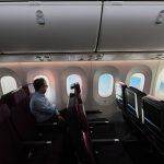 Šéf Qantas Alan Joyce během letu z New Yorku. Foto: James D Morgan/Qantas