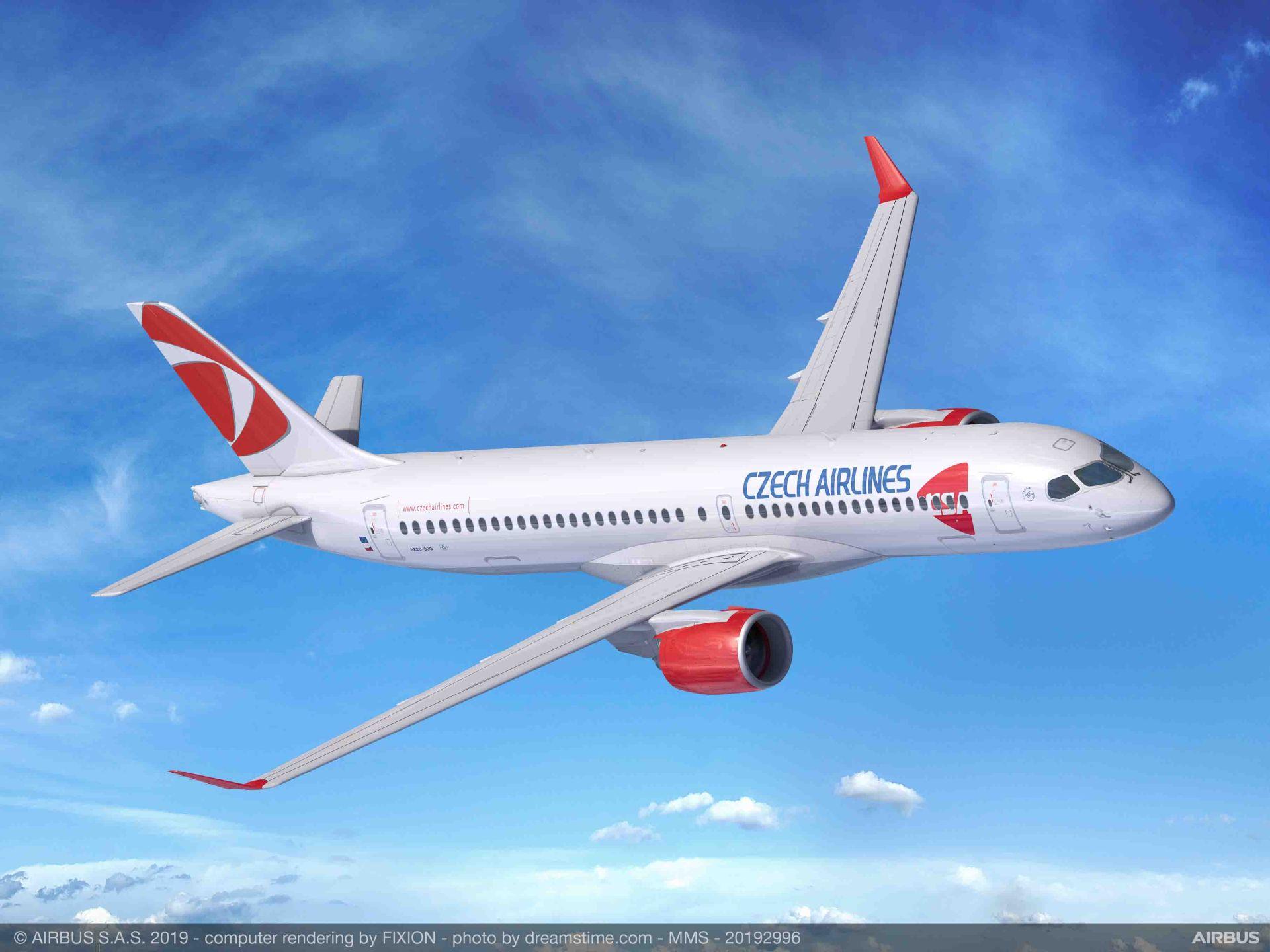 A220-300 v barvách Českých aerolinií. Foto: Airbus