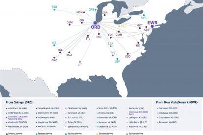 Mapa destinací United Airlines pro letadla CRJ-550.