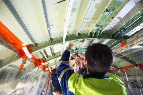 Práce na modernizaci A320 pro Finnair. Foto: CSAT