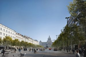 Aktuální návrh podoby Václavského náměstí s tramvajemi. Foto: IPR