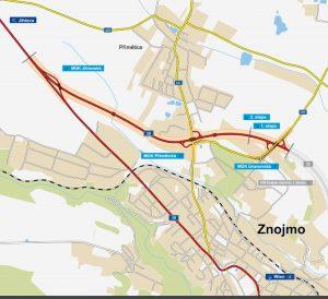 Mapa severního obchvatu Znojma. Foto: ŘSD