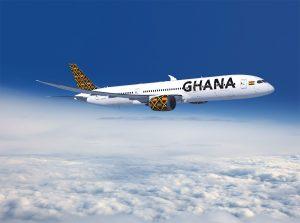 Boeing 787-9 pro nové státní aerolinky v Ghaně. Foto: Boeing787 ZA001 air to air