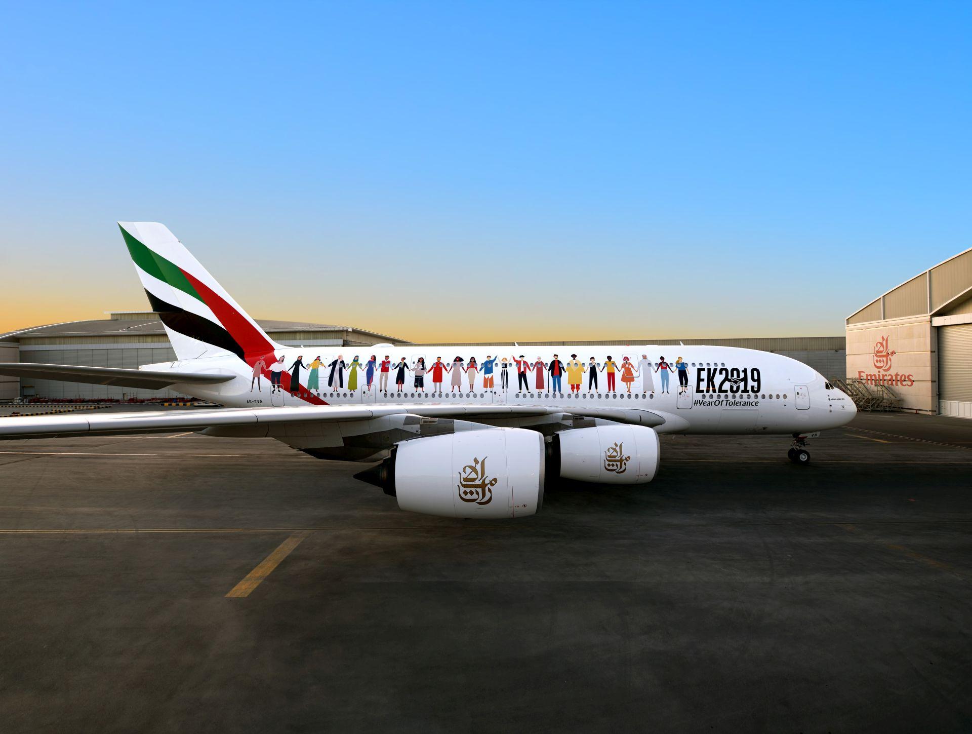 Airbus A380 společnosti Emirates ve speciálním designu pro rok tolerance. Foto: Emirates