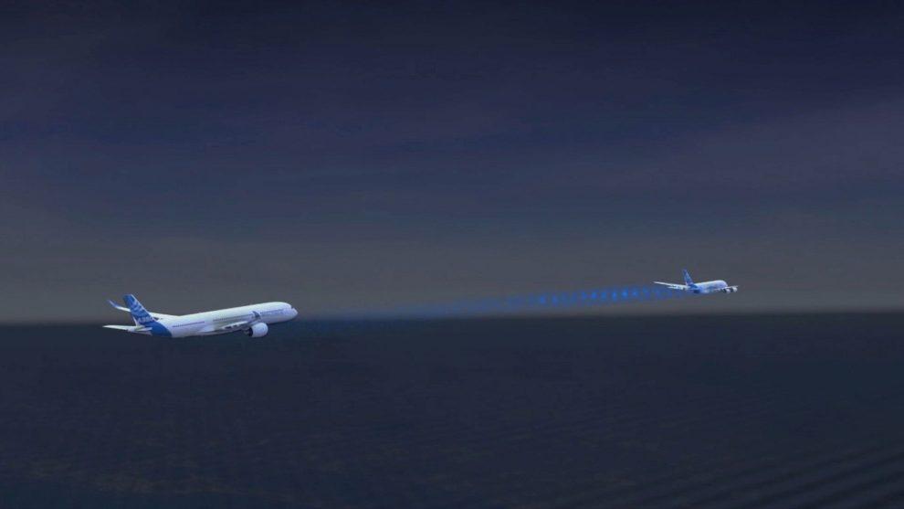 Schéma letu dvou letadel za sebou, jak si je představuje Airbus. Foto: Airbus