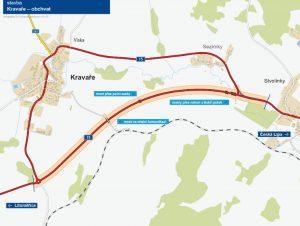 Trasa obchvatu Kravař na silnici I/15. Foto: ŘSD