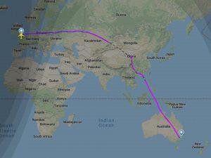 Trasa letu z Londýna do Sydney. Foto: FR24.com