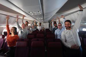 Rozcvička na letu Londýn - Sydney. Foto: Qantas
