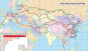 Trasy nákladních vlaků z Číny do Evropy. Foto: China daily