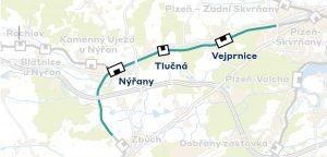 Trasa trati z Plzně do Domažlic v úseku pro elektrizaci a optimalizaci v takzvané 2. stavbě. Foto: SŽDC