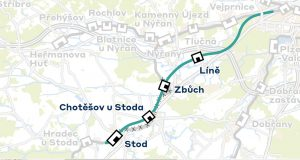 Trasa trati v nové stopě na 200 km/h z Plzně do Stodu. Foto: SŽDC