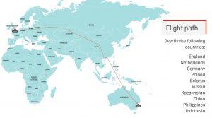 Plánovaná trasa přímého letu z Londýna do Sydney