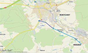 Mapa jižní části obchvatu Rokycan. Foto: Správa a údržba silnic Plzeňského kraje