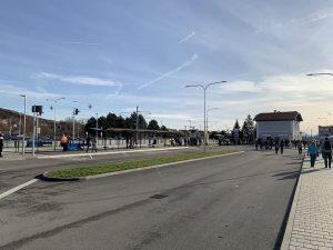 Autobusový terminál u nádraží v Židlochovicích. Foto: Juraj Kováč