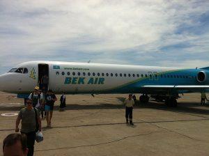 Fokker 100 v barvách Bek Air. Foto: Par Qarakesek / Wikimedia Commons