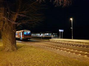 Jednotky 628 a Alstom Lint v Bylnici. Foto: Jan Sůra