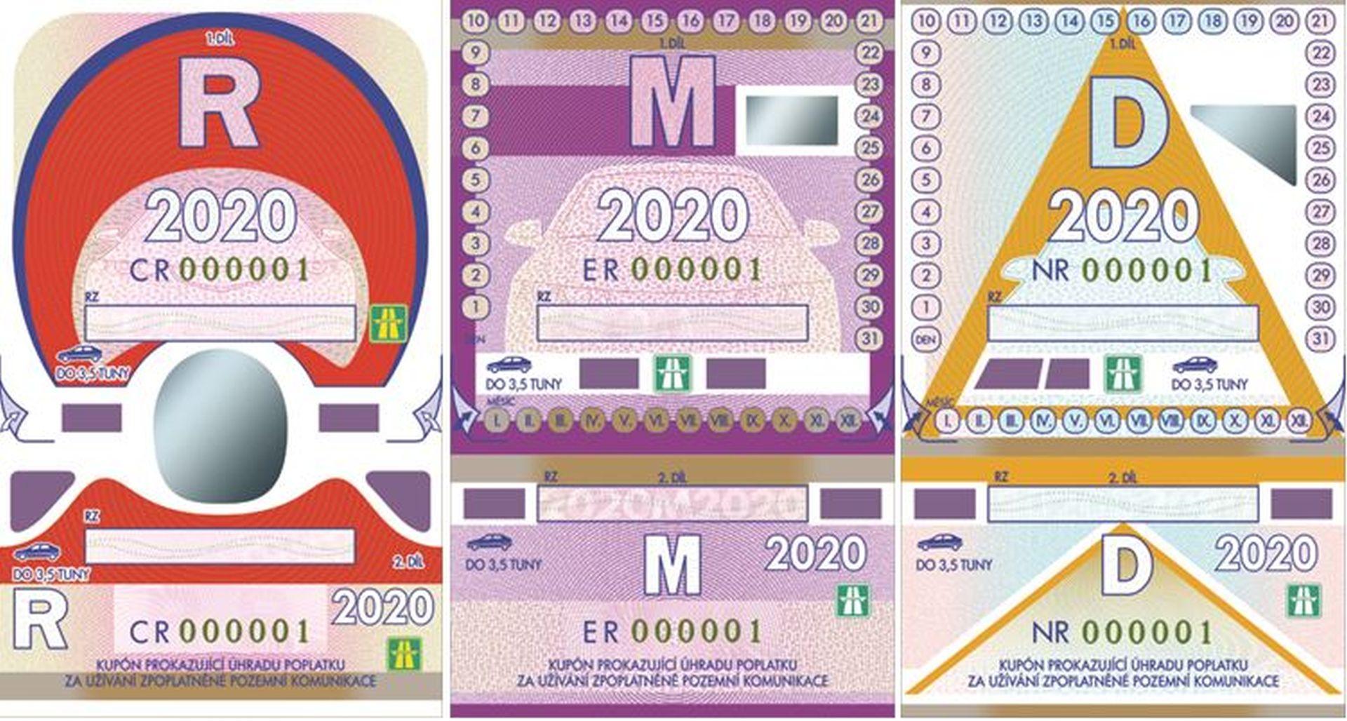 Dálniční kupóny pro rok 2020. Foto: ministerstvo dopravy
