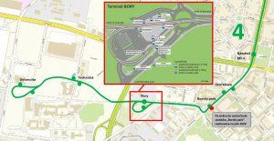 Mapa prodloužení tramvajové trati v Plzni. Foto: PMDP