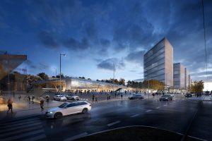 Budoucí podoba nádraží Praha-Veleslavín dle návrhu studia idhea architekti. Pramen: SŽDC/IPR Praha