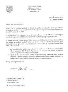 Dopis ministra dopravy nařizující ŘSD neuzavírat smlouvu s CGI bez jeho souhlasu