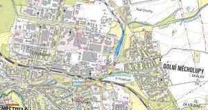 Mapa místa, kde koupil RegioJet pozemky pro nové depo. Foto: Katastr nemovitostí