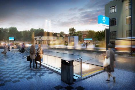 Upravený návrh stanice Olbrachtova. Pramen: IPR Praha