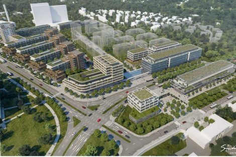 Vizualizace navrhovaného rozvoje v oblasti stanice Nemocnice Krč. V pravé části je vidět objekty pro polikliniku a školu. Pramen: IPR Praha