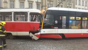 Nehoda tramvají na Pohořelci. Foto: Policie ČR