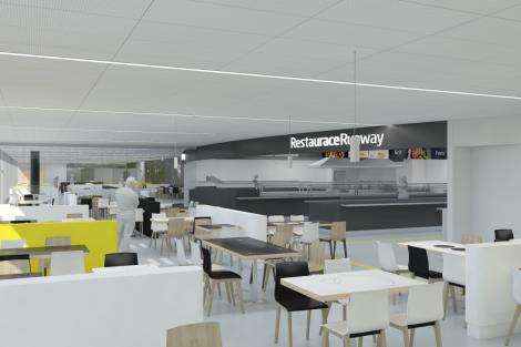 Vizualizace Restaurace Runway. Foto: Letiště Praha