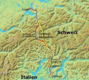 Železniční spojení přes Alpy s úpatními tunely Gotthard a Ceneri.Autor: Markus Schweiß; edited by Cooper at de.wikipedia – WikiCommons, Bild:Karte Gotthardbahn.png; ursprüngl. Quelle: http://www2.demis.nl/mapserver/mapper.asp, CC BY-SA 3.0, https://commons.wikimedia.org/w/index.php?curid=3908298
