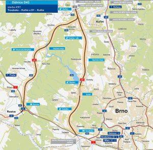 Alternativy budoucí dálnice D43. Pramen: ŘSD
