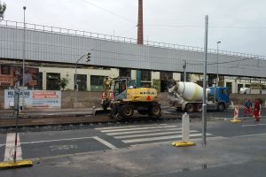 Oprava tramvajové trati v Kolbenově ulici v roce 2018. Autor: Zdopravy.cz/Jan Šindelář