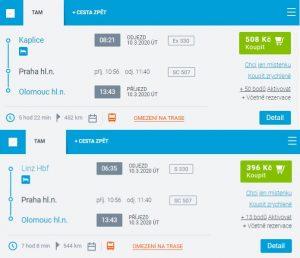 Příklady cenového rozdílu jízdenek pro trasu v Česku a pro trasu zahájenou v zahraničí. Foto: ČD