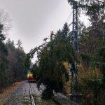 Správa železnic řeší následky silného větru (10. února 2020). Pramen: Správa železnic
