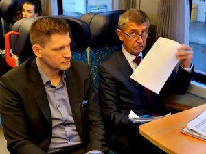 Bc. Václav Nebeský (generální ředitel Českých drah) a Andrej Babiš. Foto: Twitter Českých drah
