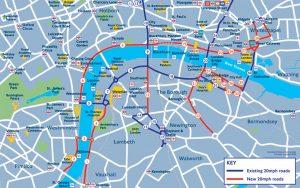 Mapa ulic, kde bude v Londýně nově platit rychlost 20 mil za hodinu (červeně). Foto: Transport for London