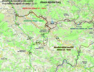 Návrh uzavírek při uzavření křižovatky Rádelský Mlýn.