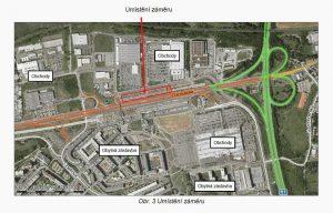 Mapa s budoucím umístěním nového parkoviště P+R na Černém Mostě