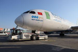 Dreamliner společnosti Bamboo Airways v Praze. Pramen: Letiště Praha