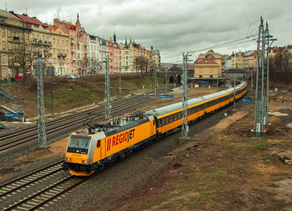 Vlak RegioJetu na výjimečné návštěvě v Plzni. Autor: Dalibor Palko