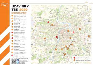 Mapa uzavírek v Praze v roce 2020. Pramen: TSK Praha