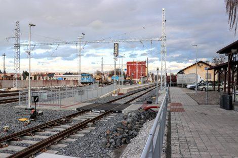 Nové nástupiště v Uničově má délku 110 metrů. Pramen: Správa železnic