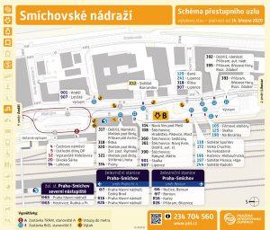 Schéma zastávek na Smíchovském nádraží během výluky. Foto: DPP