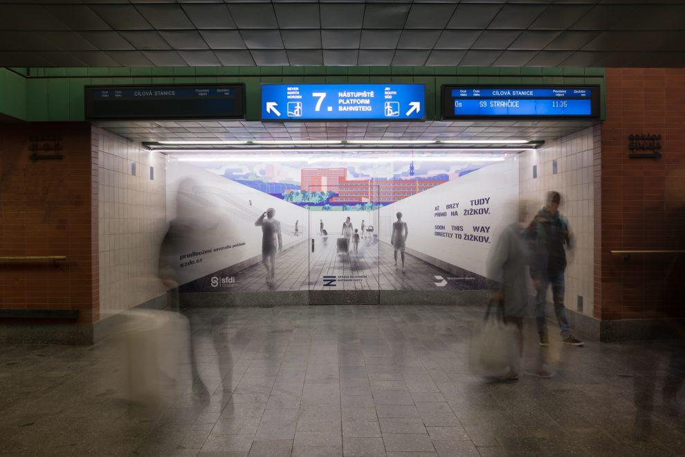 Vizualizace budoucího podchodu na Žižkov. Pramen: Správa železnic